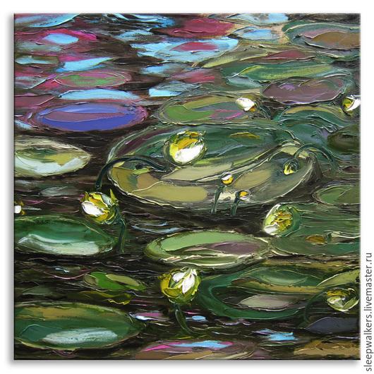"""Картины цветов ручной работы. Ярмарка Мастеров - ручная работа. Купить """"Старый пруд"""" 65х65 см большая картина маслом мастихином. Handmade."""