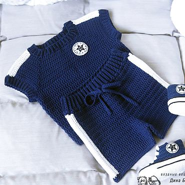 Works for children handmade. Livemaster - original item Blue knitted suit for boy Sports shorts and tank top. Handmade.