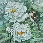 Картины и панно handmade. Livemaster - original item Copy of Copy of Copy of Copy of Copy of Painting watercolor peonies  Peonies in garden. Handmade.