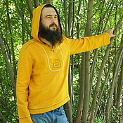 "Одежда ручной работы. Ярмарка Мастеров - ручная работа Рубаха мужская ""Куркума"" льняная с капюшоном. Handmade."