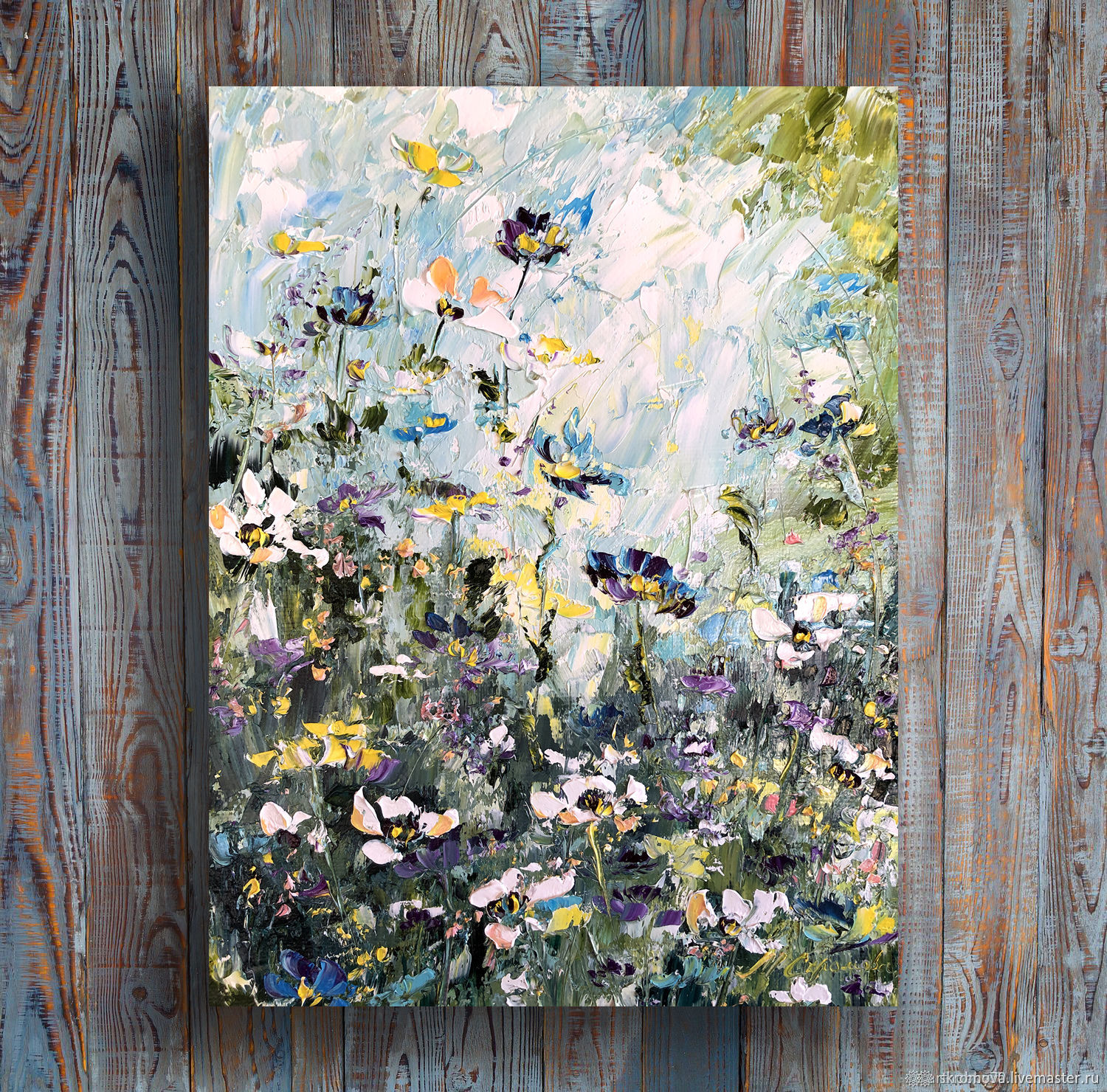 Oil painting Flower oil painting Spring lawn, Pictures, Moscow,  Фото №1