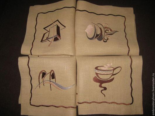 """Текстиль, ковры ручной работы. Ярмарка Мастеров - ручная работа. Купить Комплект льняных салфеток для завтрака"""" Кофейный сет"""". Handmade."""