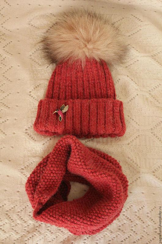 Шапки и шарфы ручной работы. Ярмарка Мастеров - ручная работа. Купить Комплект для девочки 7-10 лет. Handmade. Бордовый