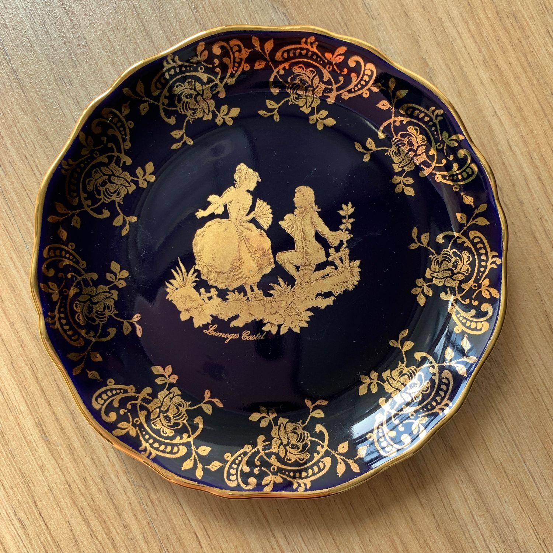 Vintage: Plate 'Cavalier with a lady', Limoges, cobalt (5012), Vintage plates, Tyumen,  Фото №1