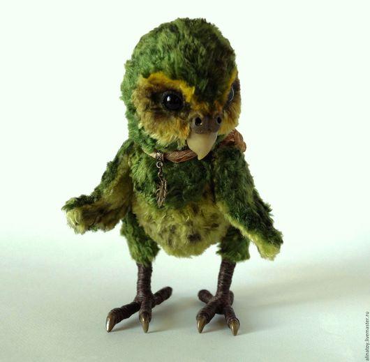 Куклы и игрушки ручной работы. Ярмарка Мастеров - ручная работа. Купить Мосси, какапо, попугай тедди. Handmade. Тёмно-зелёный