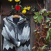 Одежда ручной работы. Ярмарка Мастеров - ручная работа Пальто вязаное черно-белое из Кауни, энтерлак. Handmade.