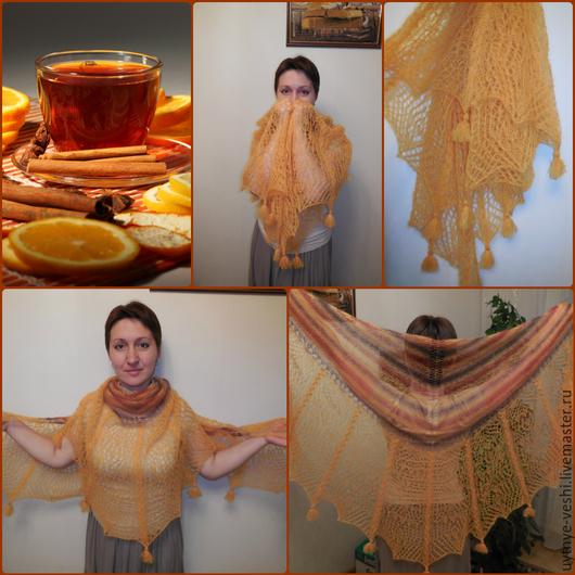 """Шали, палантины ручной работы. Ярмарка Мастеров - ручная работа. Купить Шаль спицы ажур """" Чай с корицей"""". Handmade."""