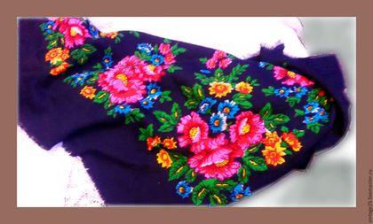 Винтажная одежда и аксессуары. Ярмарка Мастеров - ручная работа. Купить Бабушкин платок черный 65 год. Handmade. Комбинированный, шерстяной платок