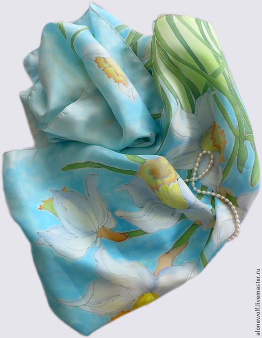 """Шарфы и шарфики ручной работы. Ярмарка Мастеров - ручная работа. Купить Батик шарф """"Предчувствие весны"""". Handmade. Голубой, Батик"""