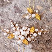 Свадебный салон ручной работы. Ярмарка Мастеров - ручная работа Золотые шпильки с натуральным жемчугом и листиками. Handmade.