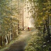 Картины и панно handmade. Livemaster - original item Oil painting on canvas the Mystery of the morning forest. Handmade.