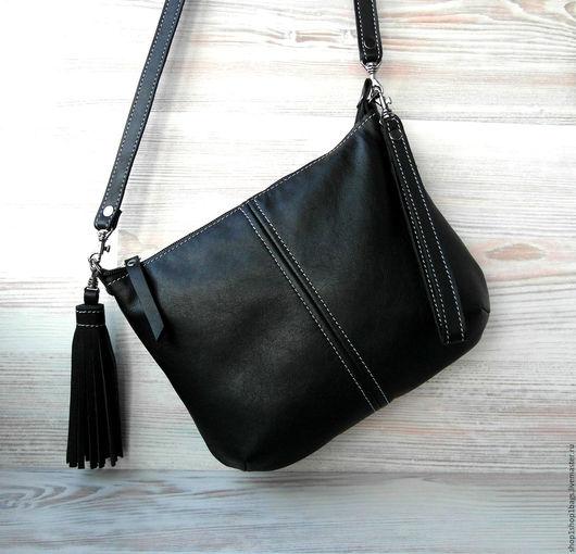 Женские сумки ручной работы. Ярмарка Мастеров - ручная работа. Купить Кожаная черная сумка на плечо. Черная сумка. Черный кожаный клатч.. Handmade.