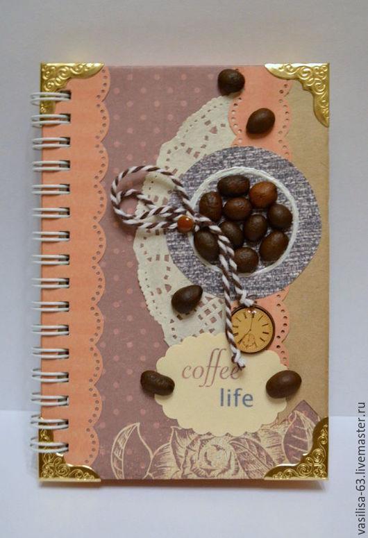 """Блокноты ручной работы. Ярмарка Мастеров - ручная работа. Купить Кофейный блокнот """"Coffee life"""". Handmade. Кофейный, кофе"""