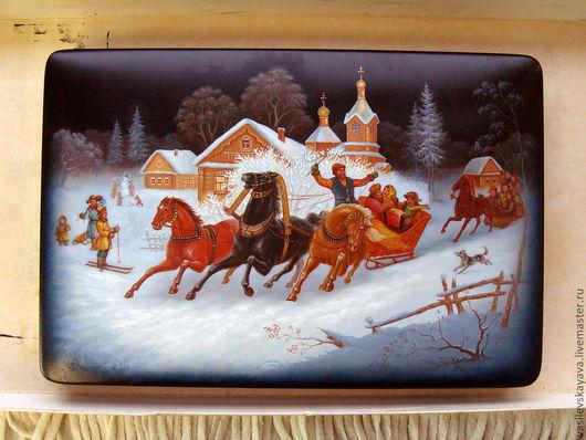 Животные ручной работы. Ярмарка Мастеров - ручная работа. Купить шкатулка Зима в Федоскино (лошади, русская тройка, шкатулка Федоскино). Handmade.