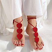 Аксессуары ручной работы. Ярмарка Мастеров - ручная работа Вязаные босые сандалии Сердечки. Handmade.