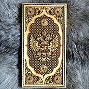 """Активный отдых и развлечения handmade. Livemaster - original item Malachite backgamon set """"RF coat of arms"""". Handmade."""