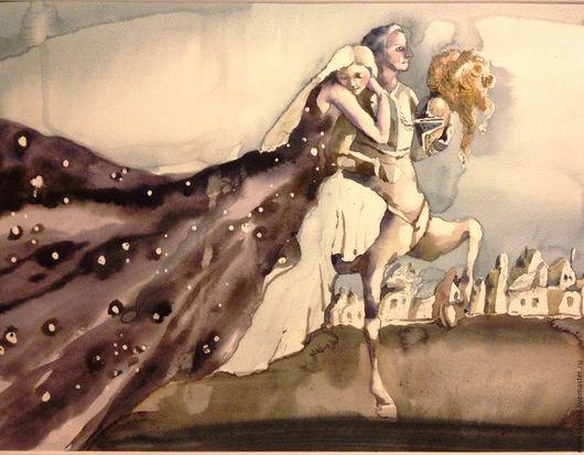 """Фантазийные сюжеты ручной работы. Ярмарка Мастеров - ручная работа. Купить """"Ночь"""" акварель. Handmade. Акварель, картина для спальни"""
