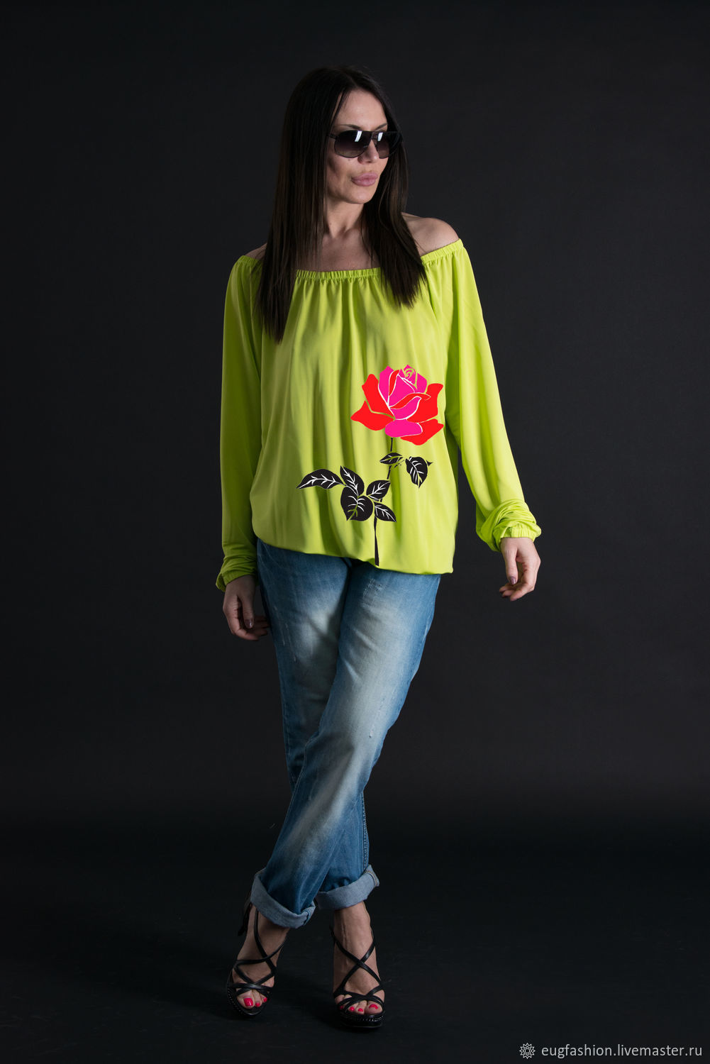 Summer top tunic with long sleeves, Tunic with print - TP0299JE, Blouses, Sofia,  Фото №1