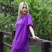 Одежда ручной работы. Ярмарка Мастеров - ручная работа Фиалка Хакасии- туника вязаная, модная,оверсайз, австралийская шерсть. Handmade.
