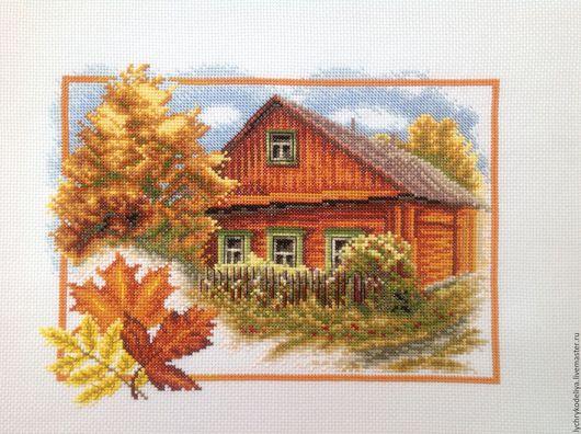 Пейзаж ручной работы. Ярмарка Мастеров - ручная работа. Купить Домик в деревне. Handmade. Рыжий, осенние краски, Вышивка крестом