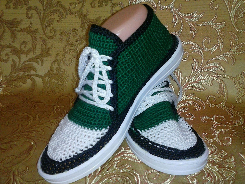 Пинетки спортивные кроссовки спицами схема вязания