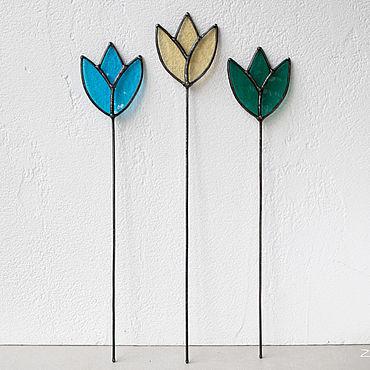 Для дома и интерьера ручной работы. Ярмарка Мастеров - ручная работа Тюльпан. Витражный декор в цветочный горшок. Handmade.