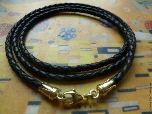 Украшения для мужчин, ручной работы. Ярмарка Мастеров - ручная работа. Купить Кожаный шнурок 3 мм с серебряным замком с позолотой. Handmade.