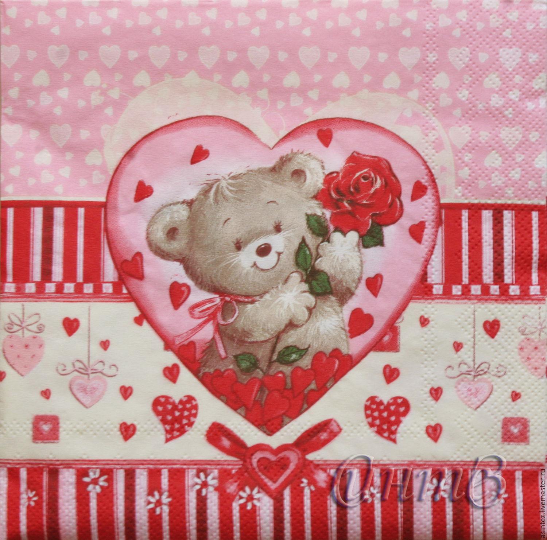 Napkins for decoupage Love Teddy Bear heart, Napkins for decoupage, Moscow,  Фото №1