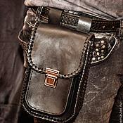 Сумки и аксессуары handmade. Livemaster - original item Biker pouch made of genuine leather with braid. Handmade.