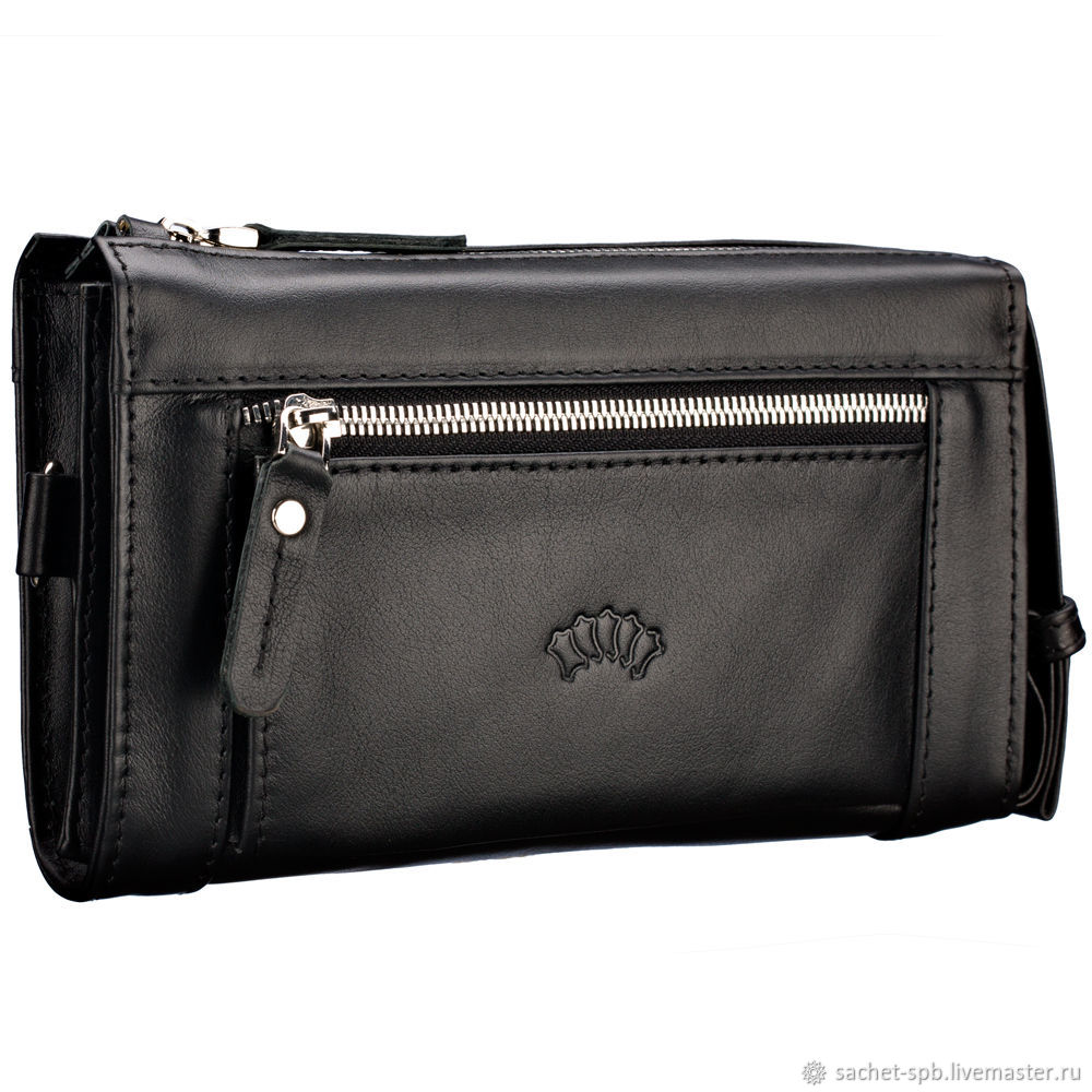 Leather clutch bag 'Alvin' (black), Clutches, St. Petersburg,  Фото №1
