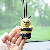 Сувениры и подарки handmade. Livemaster - original item Bee suspension in the car on the rearview mirror, pig suspension. Handmade.