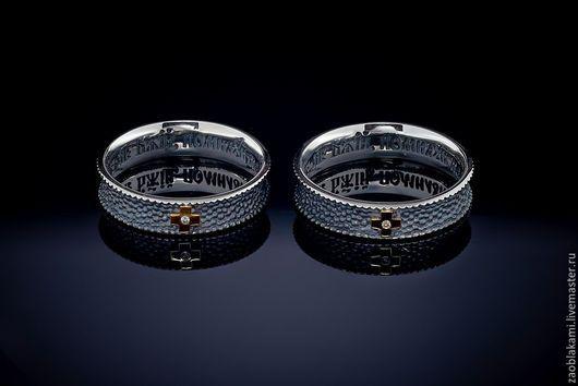 """Кольца ручной работы. Ярмарка Мастеров - ручная работа. Купить Серебряное кольцо """"Песок"""" с золотым крестом, 1 бриллиант, с молитвой. Handmade."""