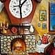 """Часы для дома ручной работы. Заказать Часы настенные  """"У камина"""". Наталья Дегтярева (Natadeg). Ярмарка Мастеров. авторская работа"""