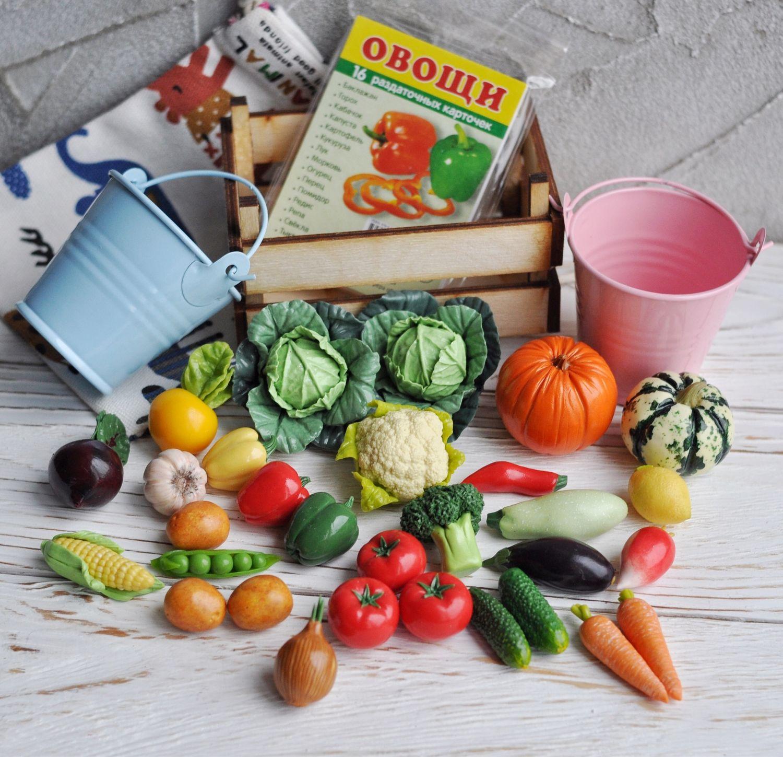 Овощи из полимерной глины (игровой набор 30 фигурок, 20 видов овощей), Кукольная еда, Санкт-Петербург,  Фото №1