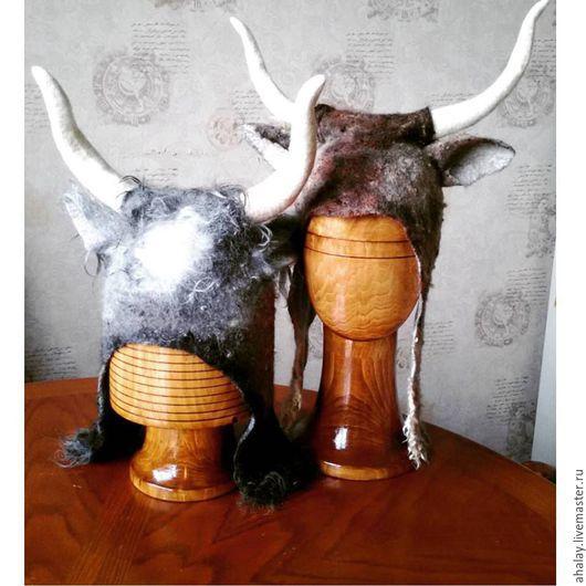 """Шапки ручной работы. Ярмарка Мастеров - ручная работа. Купить Шапка валяная рогатая """"Викинг"""". Handmade. Коричневый, шапка с рогами"""