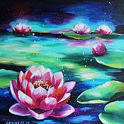 Картины и панно handmade. Livemaster - original item Oil painting with Lotus