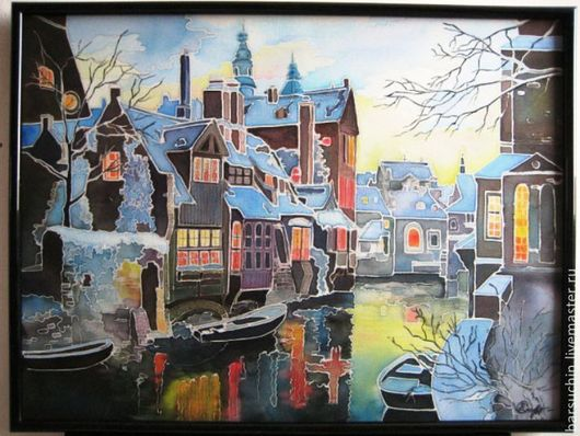 Город ручной работы. Ярмарка Мастеров - ручная работа. Купить Брюгге под снегом. Handmade. Панно на стену, батик картина