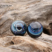 Украшения handmade. Livemaster - original item Galaxy - stud earrings - glass lampwork - Fittings surgical steel. Handmade.