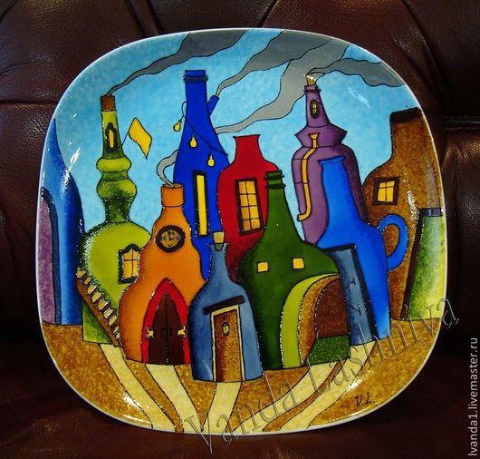 """Тарелки ручной работы. Ярмарка Мастеров - ручная работа. Купить Декоративная тарелка'Бутылочный город"""". Handmade. Авторская ручная работа, подарок"""
