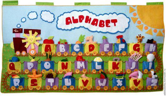 Детская ручной работы. Ярмарка Мастеров - ручная работа. Купить Алфавит из фетра Паровозик (английский). Handmade. Комбинированный, интерьерная игрушка