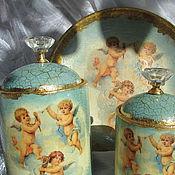 """Для дома и интерьера ручной работы. Ярмарка Мастеров - ручная работа Набор  """"Нежность ангелов"""" для хранения в ванной комнате,  декупаж. Handmade."""