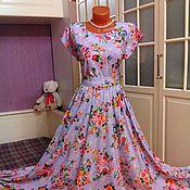 Одежда ручной работы. Ярмарка Мастеров - ручная работа Штапельное платье в пол Лиловая мечта 2. Handmade.