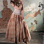 Одежда ручной работы. Ярмарка Мастеров - ручная работа Рыжая клетчатая юбка в бохо-стиле. Handmade.