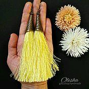 Украшения ручной работы. Ярмарка Мастеров - ручная работа Серьги кисти жёлтого цвета. Handmade.