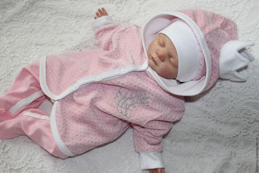 """Для новорожденных, ручной работы. Ярмарка Мастеров - ручная работа. Купить Комплект на выписку """"Королевский"""" для девочки. Handmade. Розовый, вышивка"""