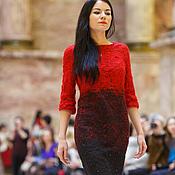 """Одежда ручной работы. Ярмарка Мастеров - ручная работа валяное платье """"Красное и Черное"""". Handmade."""