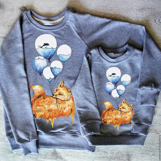 """Кофты и свитера ручной работы. Ярмарка Мастеров - ручная работа. Купить Свитшоты family look,  с авторским принтом  """"Лиса"""". Handmade."""