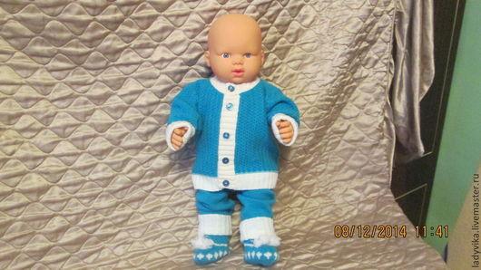 Для новорожденных, ручной работы. Ярмарка Мастеров - ручная работа. Купить костюмчик для малыша. Handmade. Тёмно-бирюзовый, штанишки, вязание