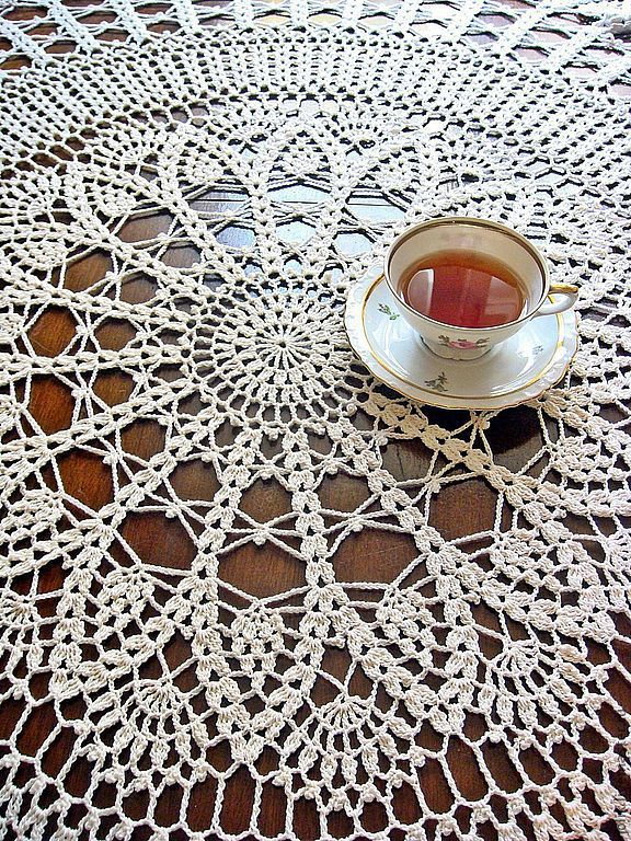 Tablecloth round crocheted Cozy house, Tablecloths, Moscow,  Фото №1
