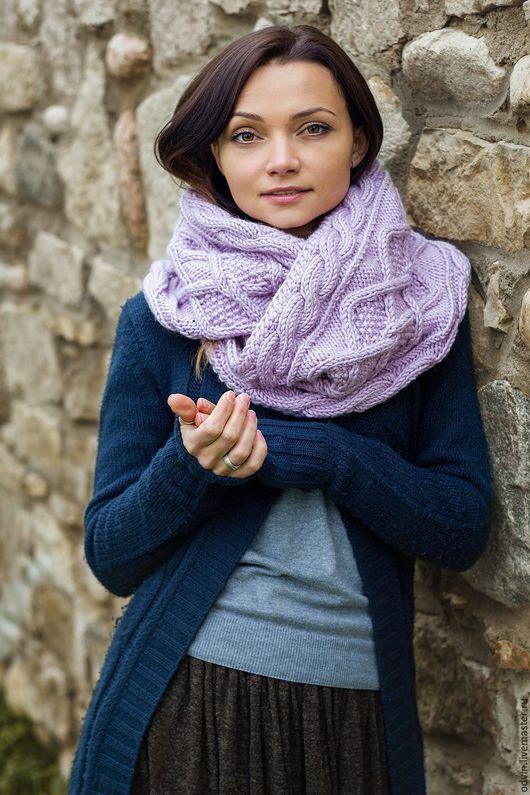 Снуд вязаный женский, снуд вязаный спицами, снуд шарф хомут, шарф вязаный женский, теплый шарф вязаный, шарф-капюшон, объемный снуд, зимняя мода, зимняя мода 2016, снуд в два оборота, капор вязаный